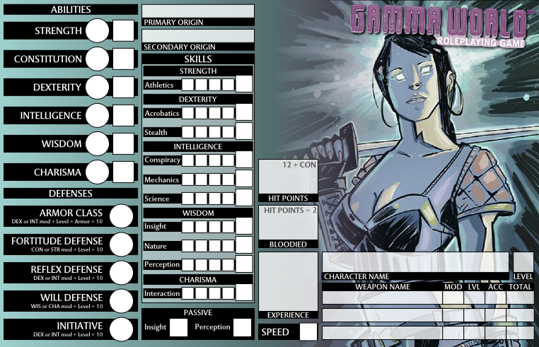 Updated Character Sheet for Gamma World