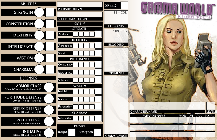 Test Gamma World Character Sheet